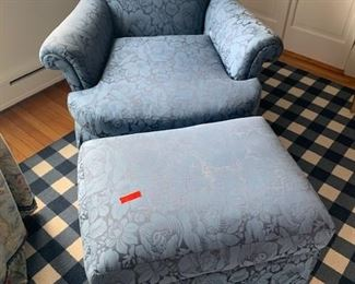 Pair of Blue Upholstered Club Chairs and One Ottoman $225 Chair/$250 Chair and Ottoman