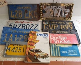 Approx. 7 license plates and 3 manuals Includes pair of matching black and yellow plates, manuals for 1969 Camaro, Chevelle, and Chevy Nova. Dodge 100/300 and Ford Pinto manuals.