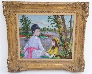 Suzanne Eisendieck French Impressionist Oil Embarcadere a Sannois, oil on canvas, 18.4 x 21.8 inches, 27.3 x 30.5 x 3.5 inches framed, signed lower left, titled verso, Paris American Art Co. stamp verso. Provenance: Palm Beach County, FL penthouse collection of Manhattan and Connecticut retirees.