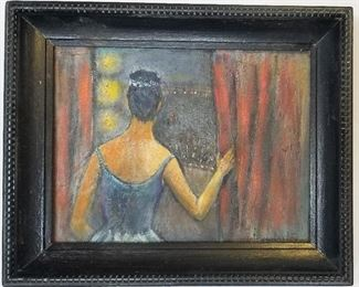 Olive Pemberton Texas Modernist Genre Oil Woman Backstage at an opera ballet or theatre stage concert or performance, oil on masonite, 6.9 x 8.9 inches, 9 x 11 x 1.3 inches framed, signed lower right, original or period painted frame molding. Provenance: Desceneded in the family of TX artist Jan Holmes now residing in Florida.