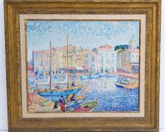 Yvonne Canu St. Tropez French Oil Pointillist Impressionist harbor scene with boats, oil on canvas, 19.5 x 24 inches, 28 x 32.4 x 2.5 inches framed, signed lower left, numbered 517, titled St. Tropez and inscribed or signed again Y. Canu verso. Provenance: Palm Beach County, FL penthouse collection of Manhattan and Connecticut retirees.