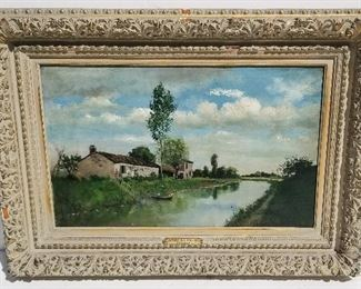 Theodore-Felix Vetelet Barbizon Landscape French 19C Apres la Pluie, oil on canvas, 16.1 x 25.5 inches, 25 x 34.6 x 2.8 inches framed, signed lower right, frame plaque with title, auction label possibly Sothebys, partial shipping label and inventory number verso. Period frame. Provenance: Manhattan estate.