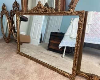 "#50 Vintage heavy large gold rectangle mirror, $31"" high x 39"" wide, $135"