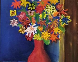 #1 Colorful flower art dated 1959. $55.