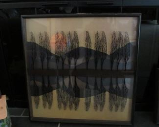Reversed Painted Double Trees Reverse Painting on Glass by Virgil Thrasher