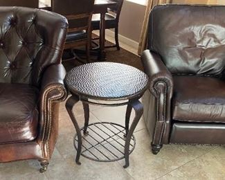 Brown Leather Chair    $250                                                      Metal Side Table    $52                                                               Bernhardt Foster Recliner    $395