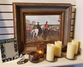 """""""The Start"""" ~ Framed Print, Glass Bird and Candle Decor (mostly electric candles)"""