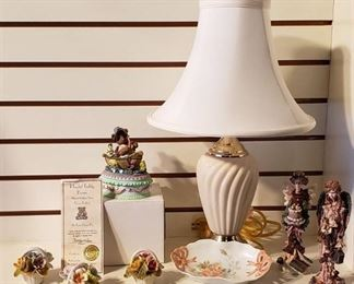 Porcelain Floral Decor, Boyd's Angels, Lamp, Collectible Fishing Bear Trinket Box, & Hand-painted Dresser Dish