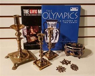 Brass Candlesticks, East Germany J.L.Menau signed Cobalt Porcelain Box, LIFE Millennium Book, History of the Olympics Book