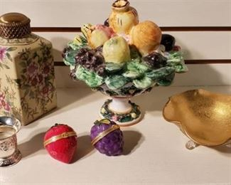 Ceramic, Metal, and Glass Decor ~ Fruit Covered Compote made in Italy