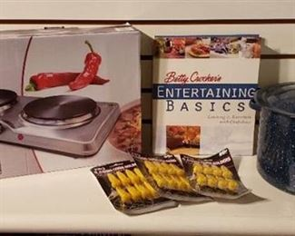 Cooking Items ~ Ambiano Hot Plate (NIB), Enamelware Pot, Betty Crocker Cookbook and Corn Holders
