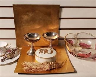 Silverplate Champagne glasses, Porcelain C/S and Anniversary Lidded Box, Gold Chargers & Gold-trim Floral Bowl