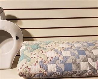 Machine Quilted Queen Size Quilt and Vintage Enamelware Bed Pan