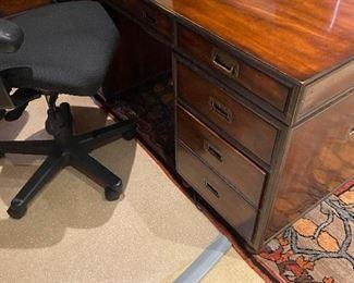 Walnut desk with brass trim. Originally $2,600, asking $500.