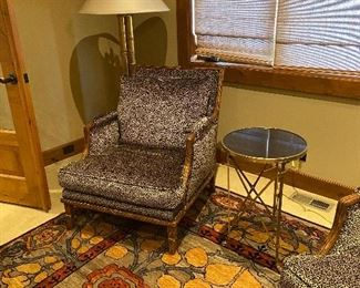 Small cocktail table shown with Nancy Corzine floor lamp and Tufenkian Inverness 8' X 10' rug. (chairs not for sale). Rug originally $6,000 asking $2,800. Cocktail table asking $260