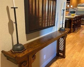 Altar Table originally $7,650, asking $3,600. Pictured with a pair of candlesticks from Honeychurch Antiques. Candlesticks originally $3,200 asking $600