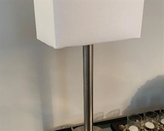 Silver Lamp with Rectangular Shade- $35