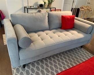 "$450-Grey Microfiber Sofa- 36 "" deep 73 ½"" wide 27 "" tall"