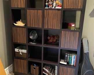 Large bookcase/cubby unit with doors & open cubbys