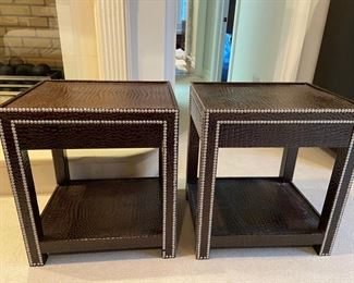 Pair Faux Alligator occasional tables in style of Dransfield & Ross