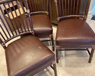Set of 6 McGuire faux bamboo dining chairs