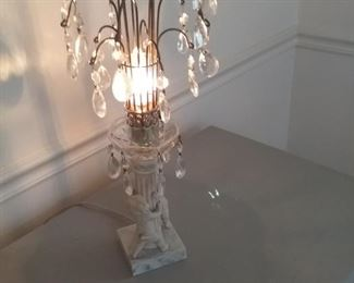 004 Vintage Lamp with Crystal Hanging Prisms and Cherub Column