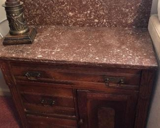 LOT D- $100.00 ANTIQUE MARBLETOP WASHSTAND 31H X 16W X 27D