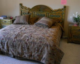 Santa fe  king size bed hand painted set with buffett