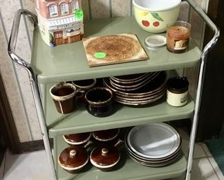 60's metal cart with McCoy/ Hull dinnerware.
