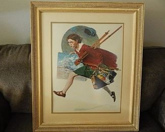 """WET PAINT"" BY NORMAN ROCKWELL. COA AVAILABLE"