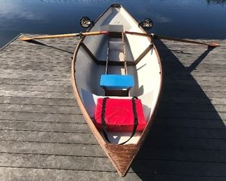 CUSTOM MADE TEAKWOOD BOAT W/OARS