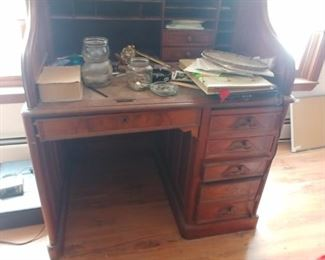 "Victorian Walnut. ""S"" roll top desk No roll $250."