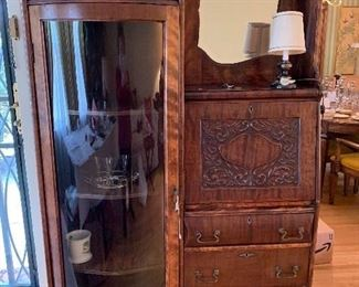 Magnificent antique curio/secretary desk- early 1900's price was $700.00  now $500.00