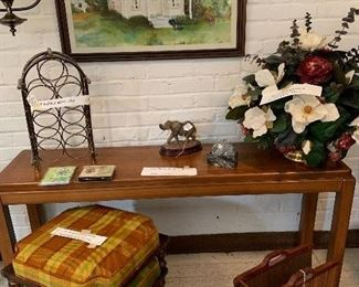 Lane Parson Table  ,   Silk arrangement and watercolor by Jan   All other items shown sold