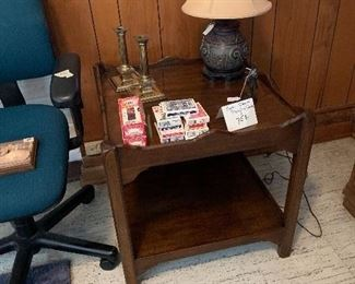 "Wooden end Table, $125.00   Small lamp  $75.00 and   solid brass candlesticks 8""-$45."