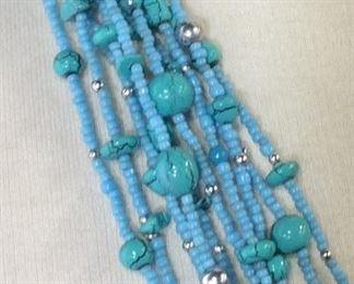 Multi Strand Costume Turquoise Bead Necklace