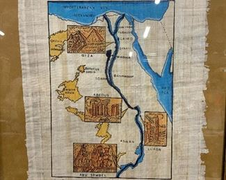 Signed Painted Linen Map of Egypt