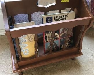 Wood magazine rack $6