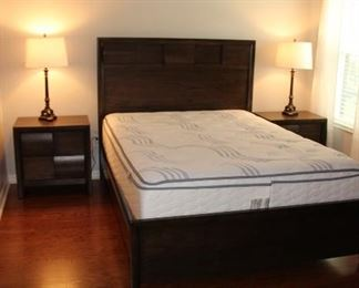 QUEEN BEDROOM SET HDB/FTB/RAILS 2 N.S. CHEST OF DRAWERS AND DRESSER W/MIRROR $750                 2 YEARS NEW