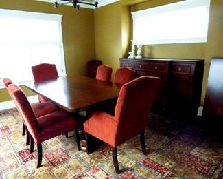 "BIN $1800 or BO. DR Set with Sideboard. Pedestal DR Table with 8 Chairs and 2 18"" leaves. Table measures 46""x 76"" without leaves."