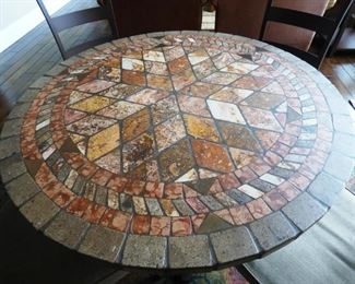"""Was $495-NOW $247.50- 48""""  round Kitchen/Patio/Porch Table . Pieced and Grouted Table- Heavy wrought Iron. 4 Chairs with removeable seat cushions."""