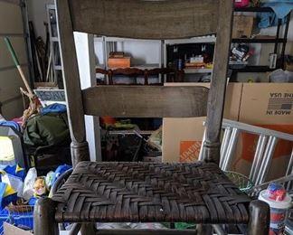 farm chair wicker seat - $20