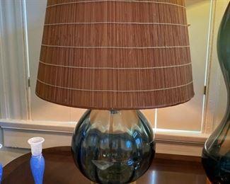 Short Blenko glass lamp $225