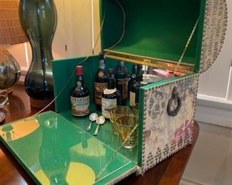 Vintage bar trunk with green felt interior: $225 (Bottles are NFS)