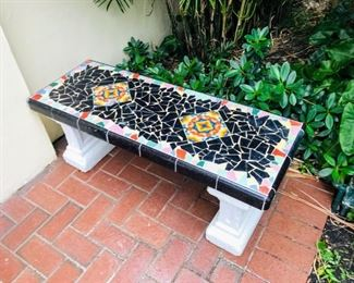 Pair of hand tiled cement benches $300 Each/$550 Pair
