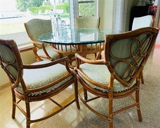 REDUCED $850                                                                       McGuire 6 Piece Set - Made in San Francisco, 5 Upholstery Chairs with glass top table - Asking price $1550