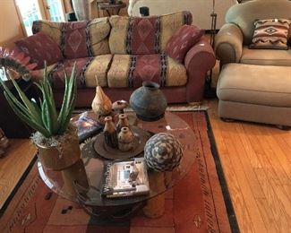 Southwest blanket sofa and ultra suede chair and ottoman