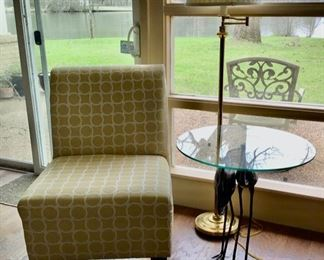 Accent Chair and Glass/Wrought Iron Side Table & Floor Lamp. Chair and Table are SOLD