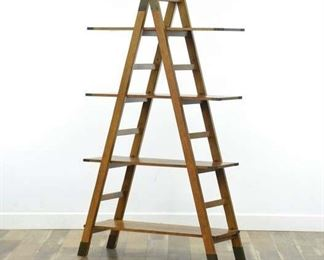 Repurposed Ladder A-Frame Bookcase Etagere