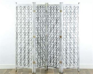 White Washed Moroccan Style Room Divider Screen